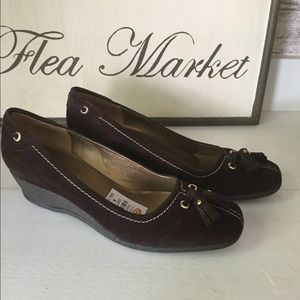 Talbots sueded loafer style shoe with wedge heel